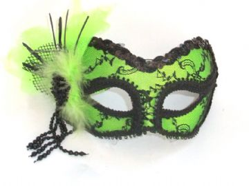 Lime Green lace mask with headband or ribbons